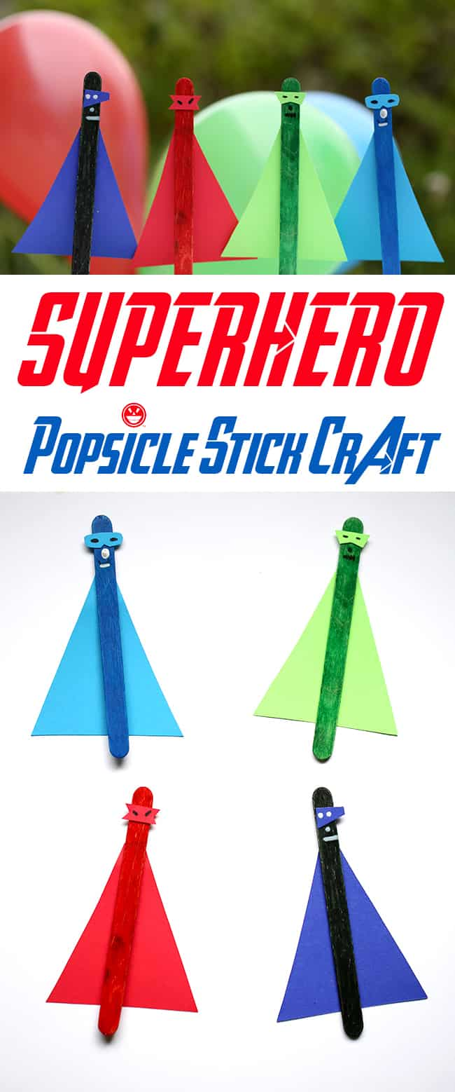 easy superhero popsicle stick craft for kids