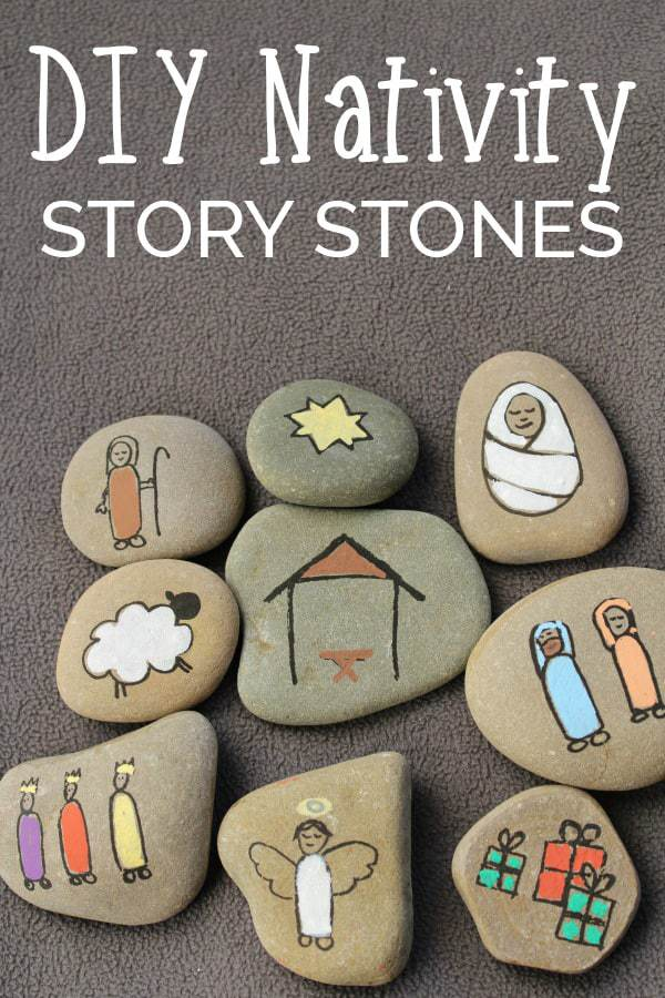 painted nativity scene story stones craft for kids