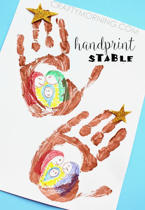 easy handprint manager scene Christmas craft for kids