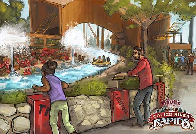 People spraying riders on Calico River Rapids at Knott's Berry Farm