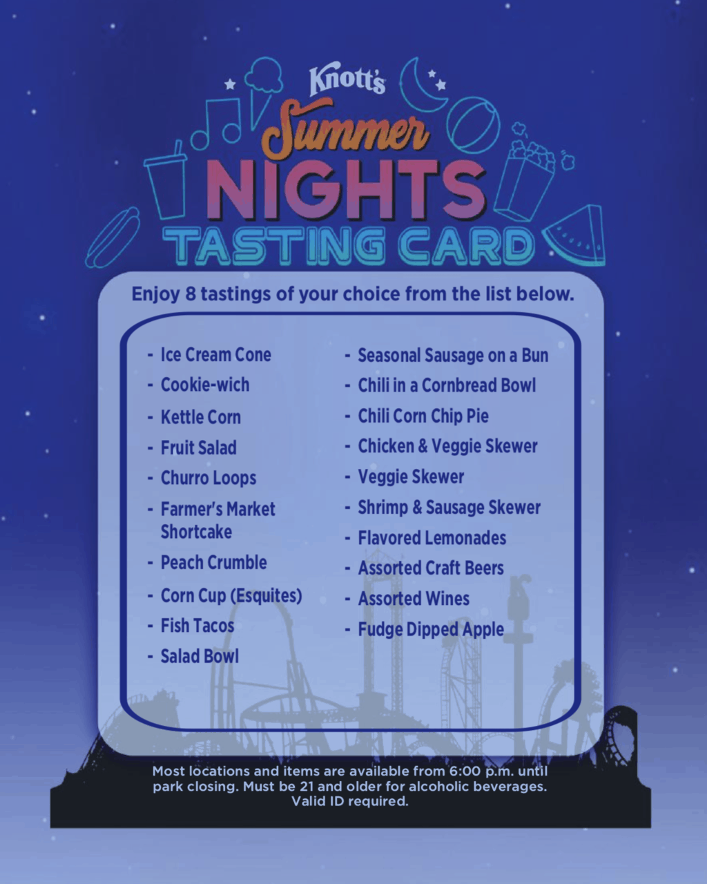 Knott's Summer Nights Tasting Card