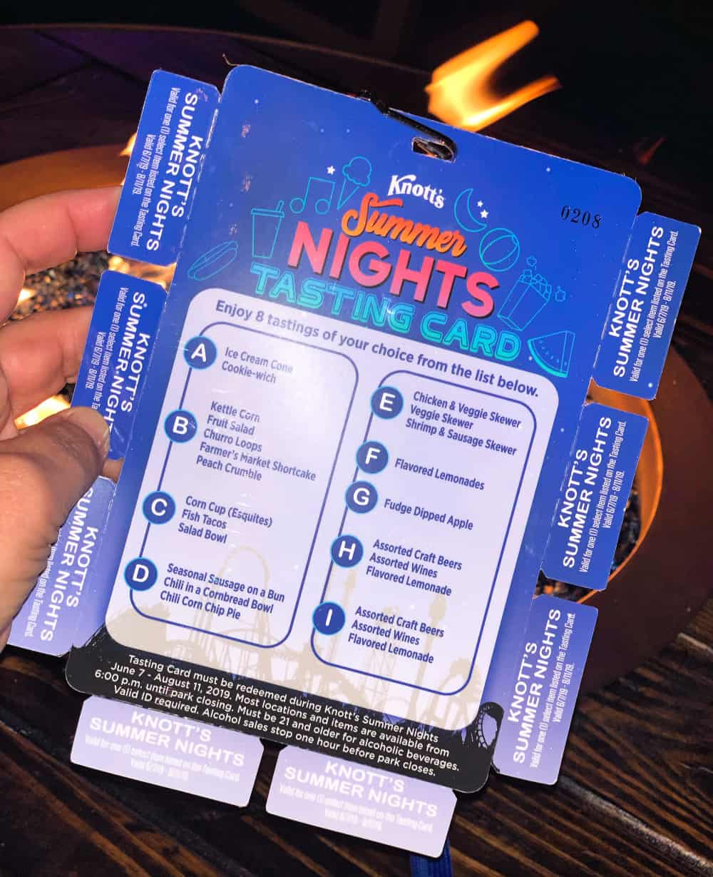 Knott's Summer Nights Taste Card
