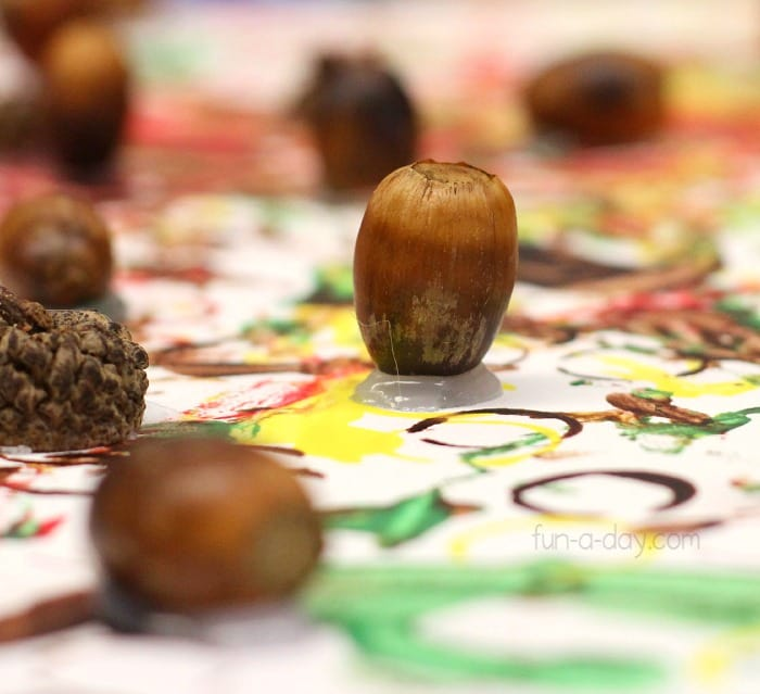Preschool painting with acorns craft