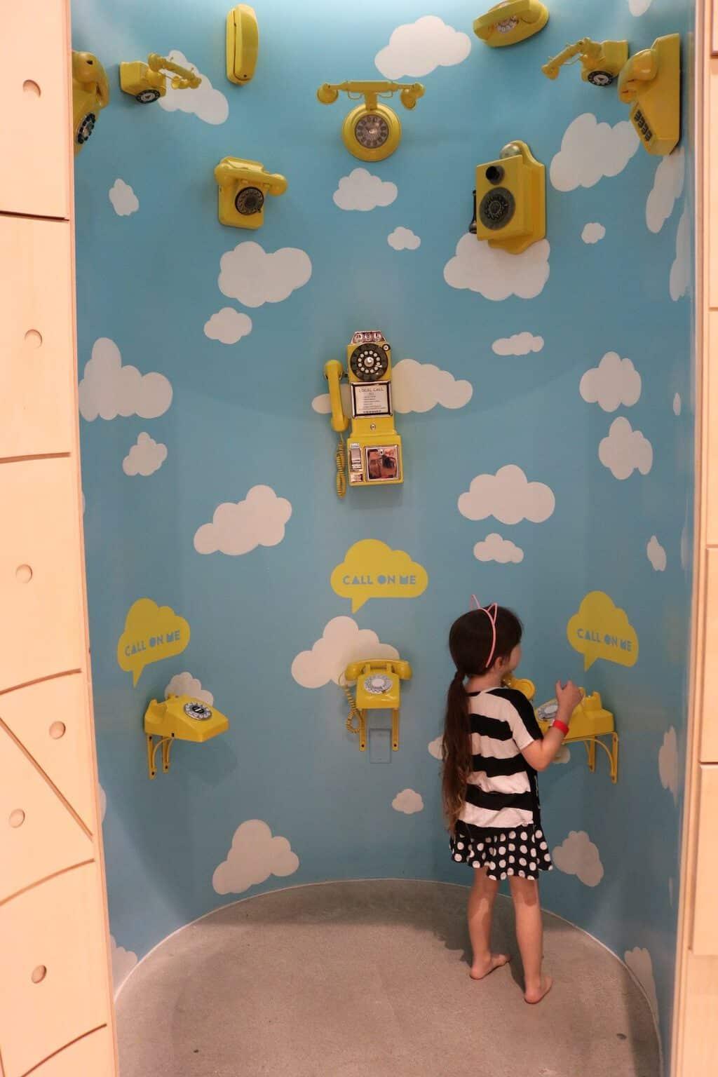 Yellow telephone booth at Cayton Children's Museum Santa Monica