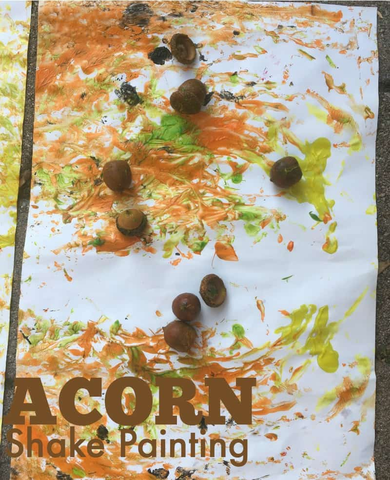 Painting with acorns craft for kids