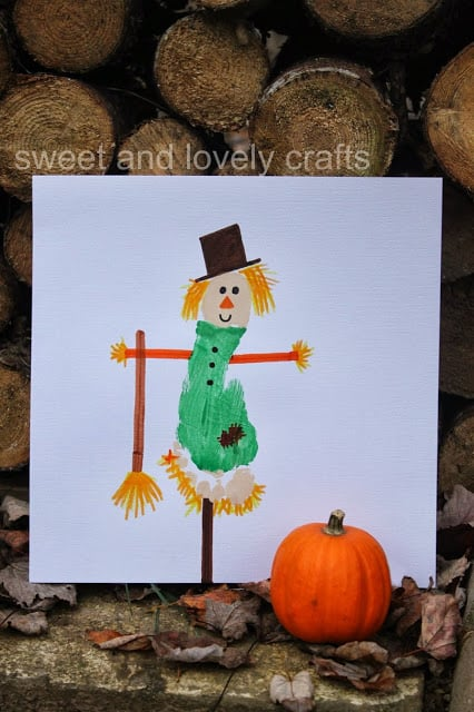 Easy footprint scarecrow for kids