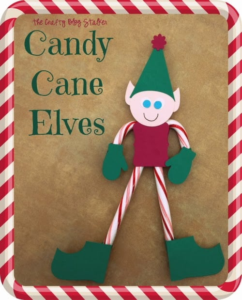 Christmas elf craft made out of candy canes and felt