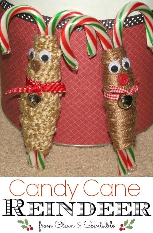 preschooler reindeer candy cane craft