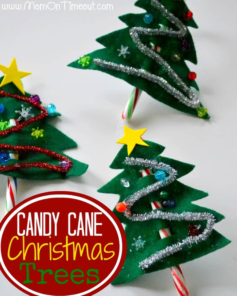 candy cane Christmas tree craft for kids