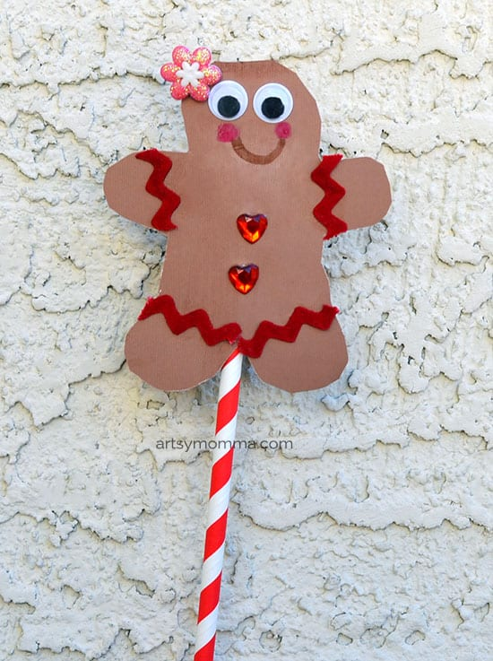Adorable gingerbread puppet craft for toddlers