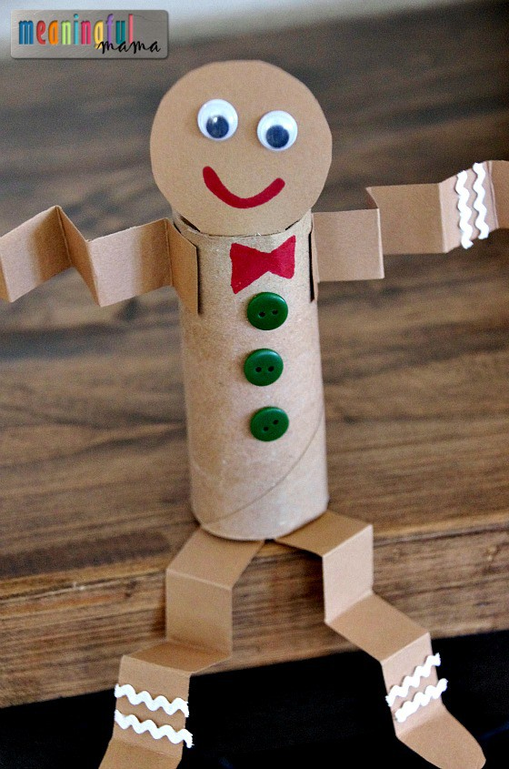 toilet paper roll gingerbread craft for kids