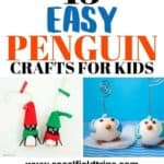Are you head over heals in love with penguins? Use these 13 Easy Penguin Crafts For Kids to teach children about these cute flightless birds that like to swim underwater and waddle on land. From handprint penguin crafts to pretty penguin ornaments, there's ideas for every age group and level. #diy #kidscraft #penguin #penguincraft #preschoolcraft #daycarecraft #toddlercraft #craftsforboys #craftsforgirls #birdcraft #animalcraft #homeschool #homeschooling