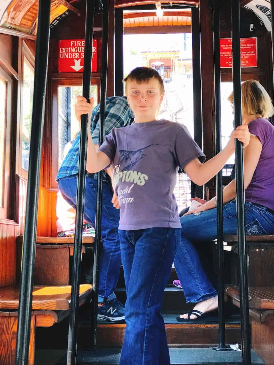 Kid on board Ange's Flight in Downtown LA