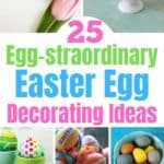 Need some Easter egg dying inspiration? Check out this list of 25 Egg-cellent Easter Egg Decorating Ideas For Families! From using crayons to tinsel to yarn, there's a method for all ages to enjoy and little hands to make. Click here to see the full list.