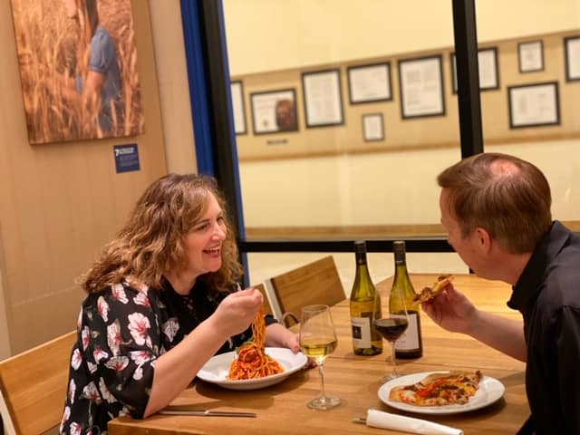 Couple having dinner at an Italian Restaurant