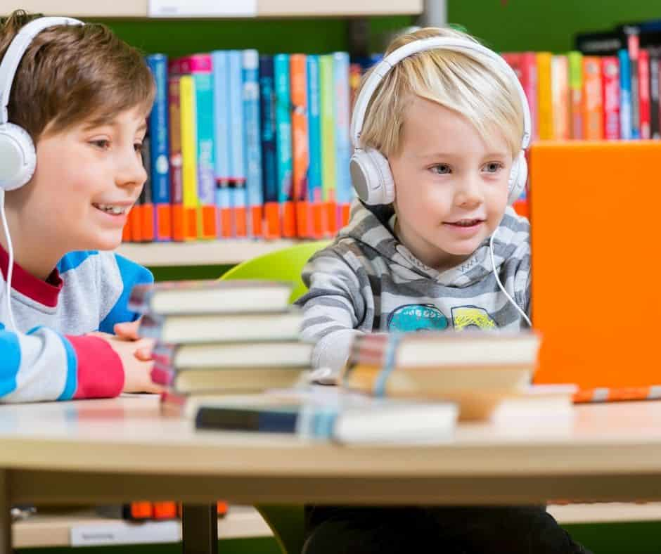 Kids listening to audiobooks