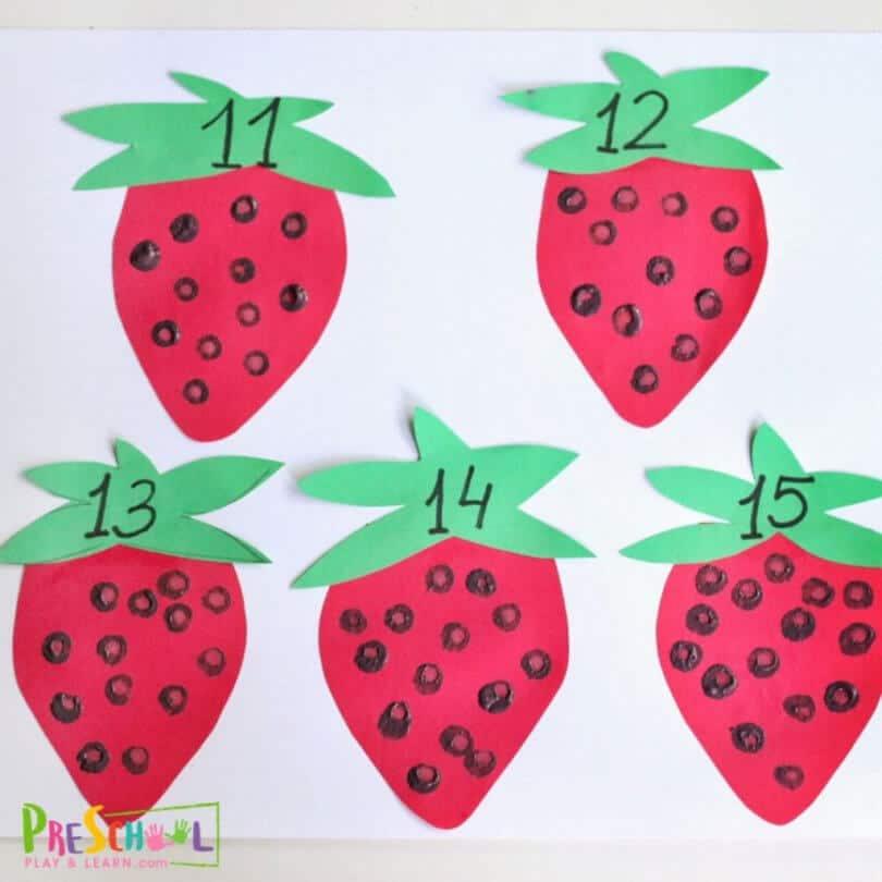 Strawberry Preschool Counting Activity