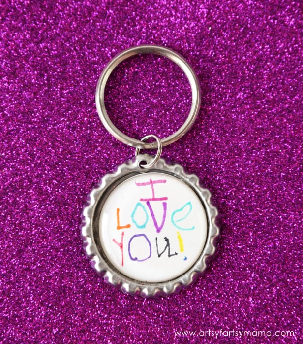 Mother's Day Keychain Craft made out of a bottle cap