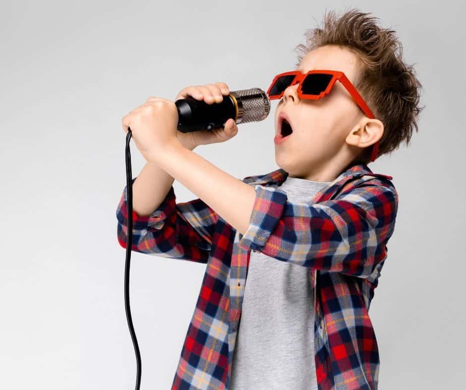 Boy singing on a virtual playdate
