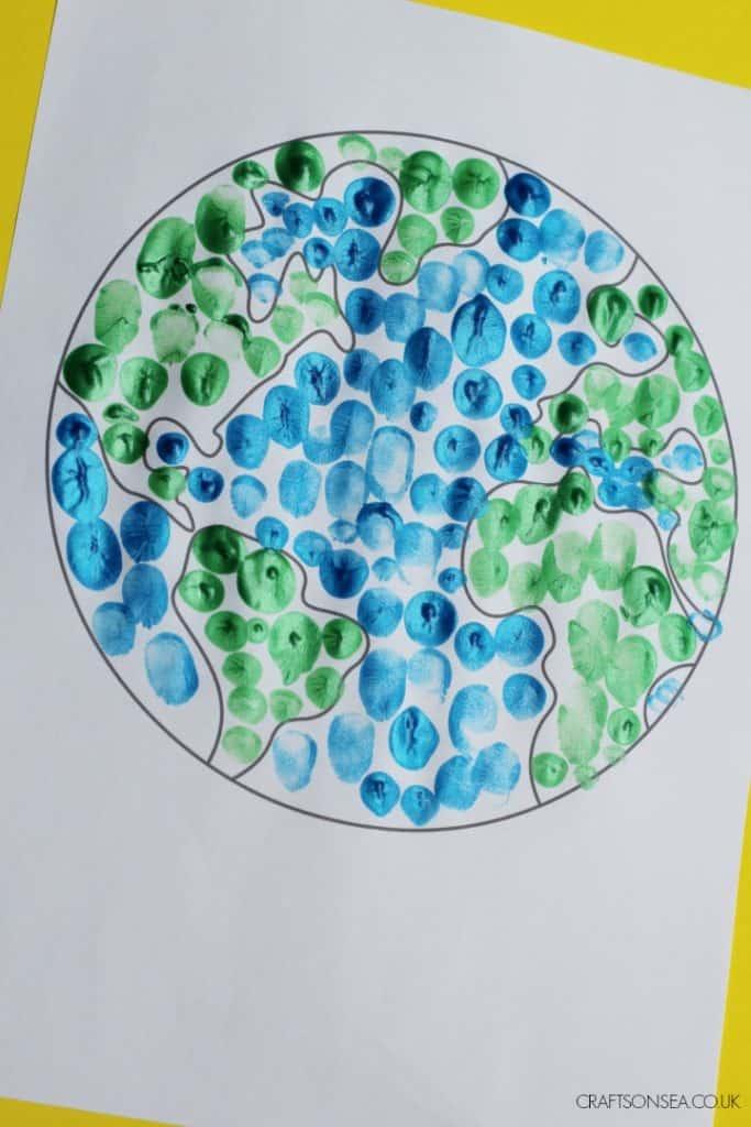 Fingerprint Earth Day Craft For Kids
