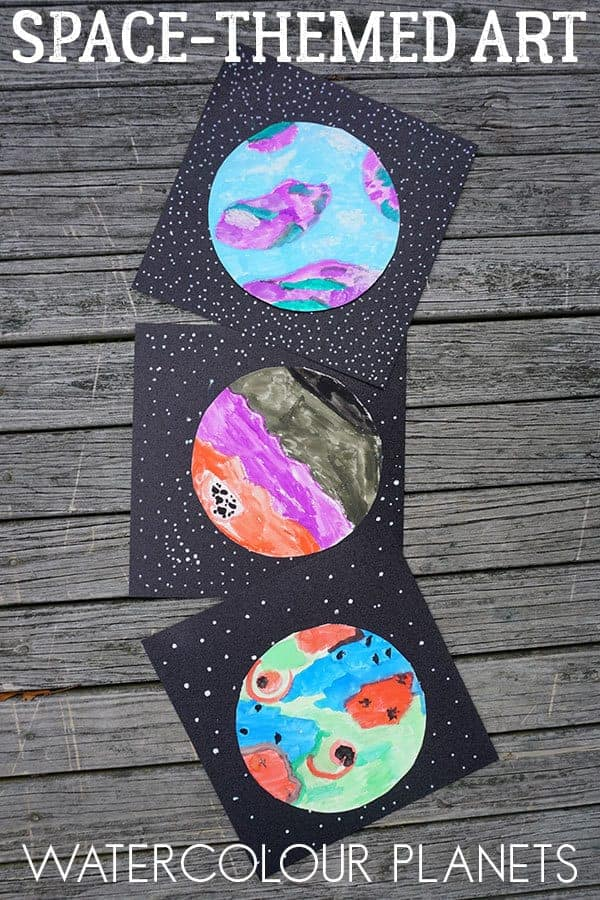 watercolor space craft for kids