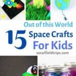With these 15 Out of This World Space Crafts For Kids, your children can learn about the stars, the solar system and the planets without ever having to go there!  They can make a mighty impressive jar of midnight galaxy slime, paint the planets with beautiful watercolors or blast off to outer space in their new paper roll rocket! Click here to learn more. #space #spacecrafts #summercrafts #homeschooling #steam #stem #stemactivities #steamactivities #preschoolscrafts #preschoocraft
