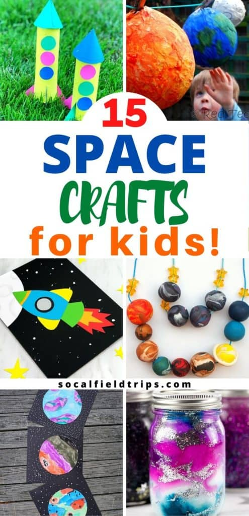 With these 15 Out of This World Space Crafts For Kids, your children can learn about the stars, the solar system and the planets without ever having to go there!  They can make a mighty impressive jar of midnight galaxy slime, paint the planets with beautiful watercolors or blast off to outer space in their new toilet paper roll rocket!