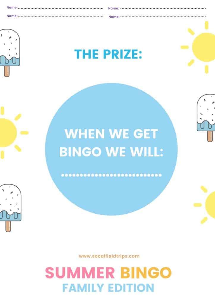 Family Summer Bingo Game