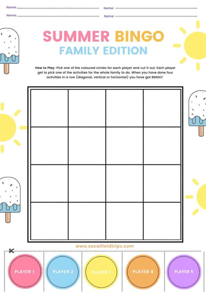 Free Summer Family Bingo Game