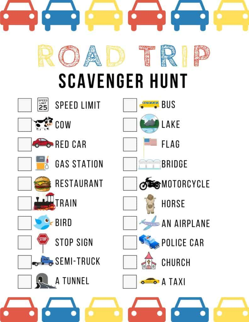 Are you planning a long road trip with kids?  If you're looking for a fun game to keep them entertained in the car, then here's a cute Road Trip Scavenger Hunt Game that's guaranteed to keep them occupied on a road trip, or even for just a short car ride.