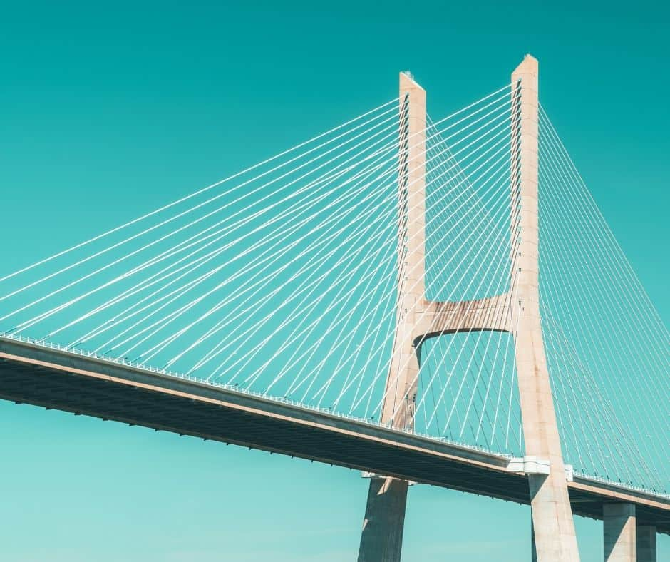 A bridge is one of the items to identify on this Road Trip Scavenger Hunt Game For Kids