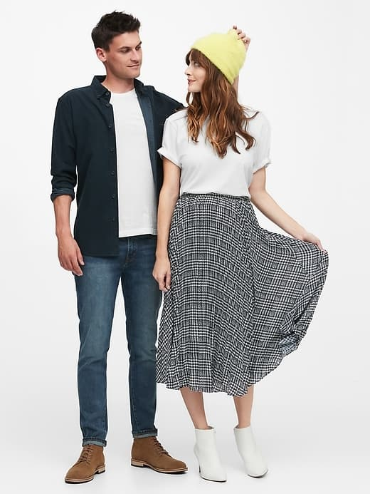 two adults dressed for fall from Banana Republic fall collection