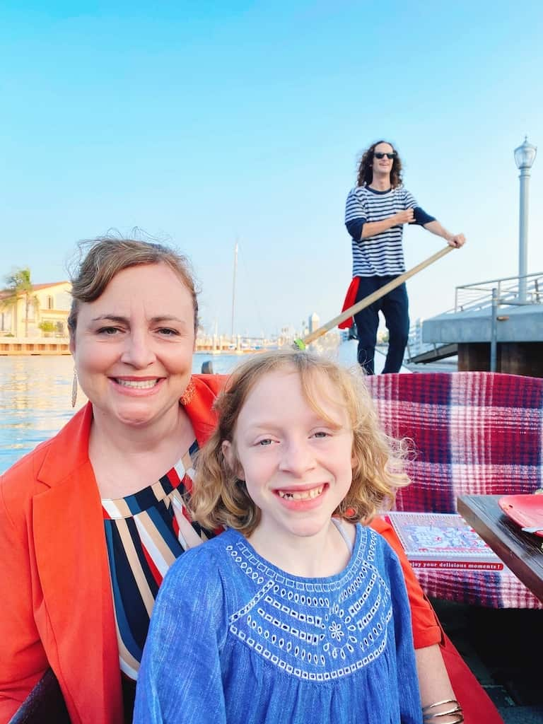 Mom and girl riding with Gondola Getaway in Long Beach