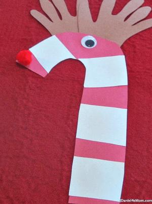 Handprint Candy Cane Reindeer