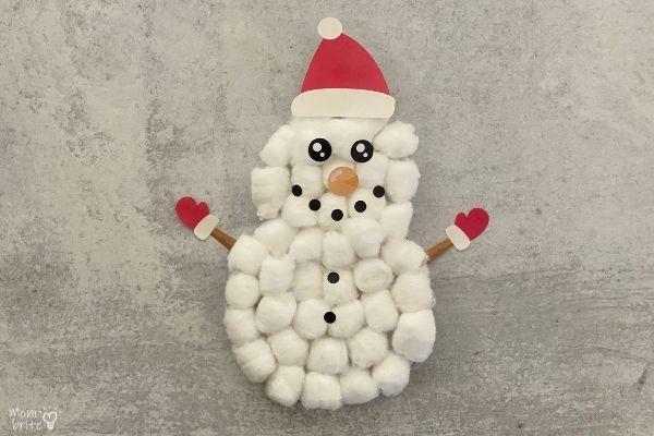Cotton Ball Snowman Craft [Free Snowman Printable]