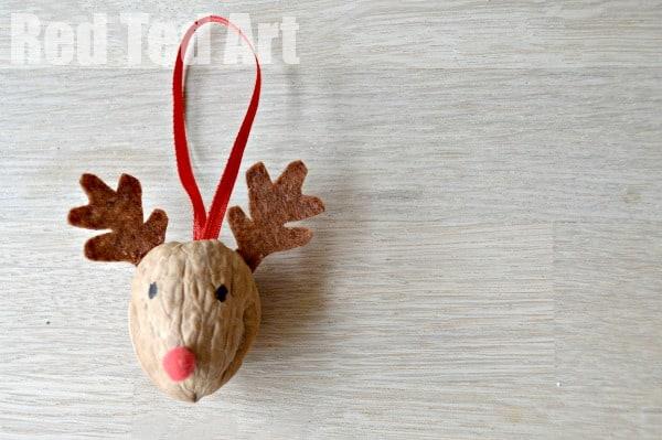 Reindeer Walnut Ornament