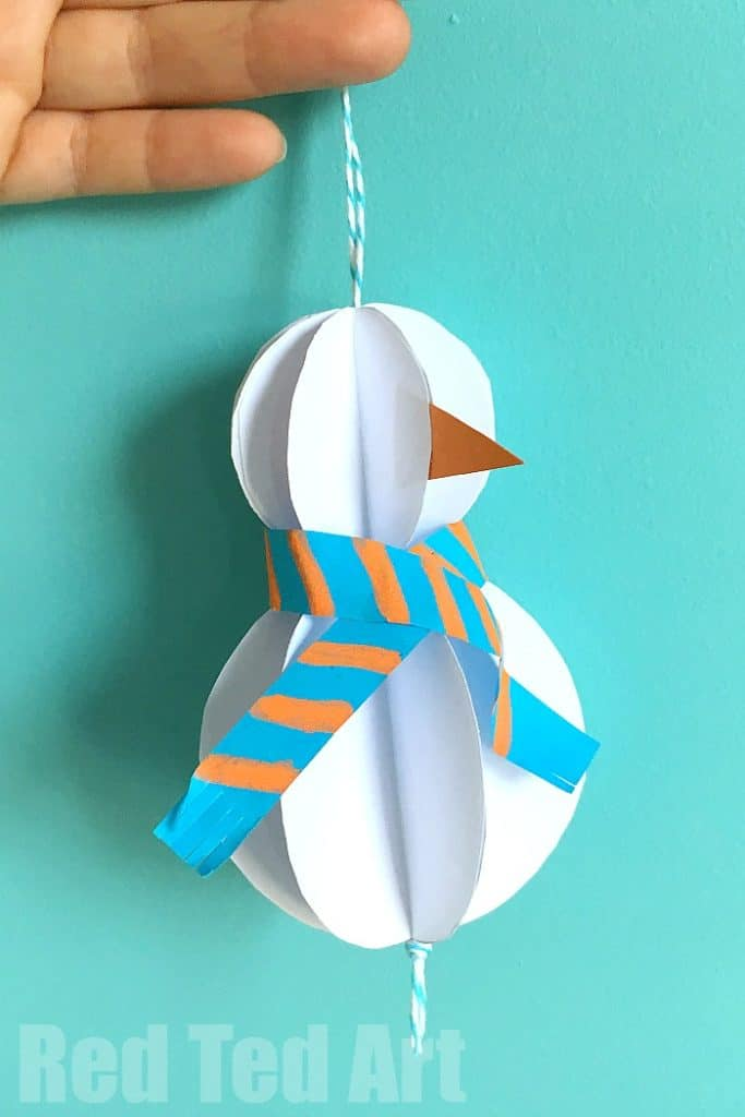 How to make a paper snowman ornament