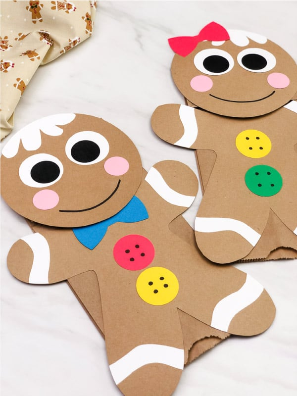 Gingerbread man paper bag craft for Christmas