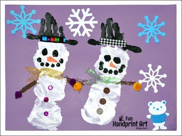 Snowman Handprint for Preschool