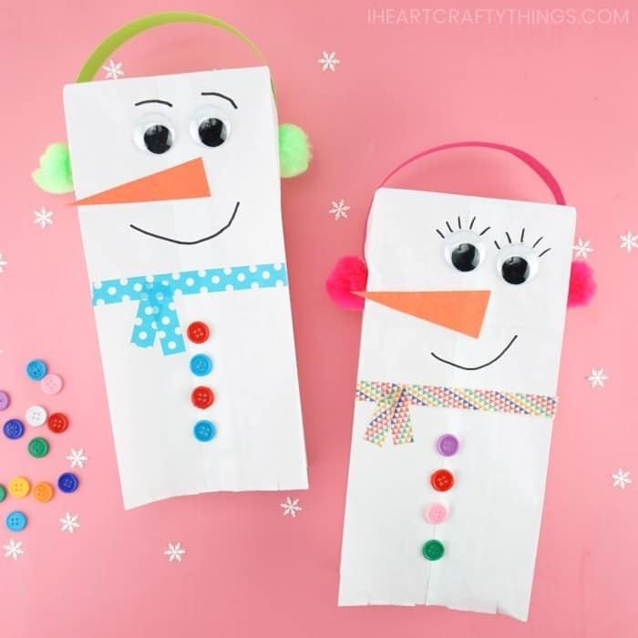 how to make a paper bag snowman