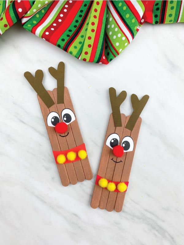 Easy reindeer popsicle stick craft for preschool
