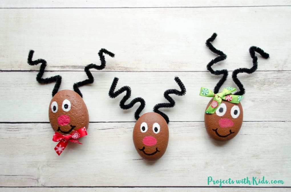 Reindeer painted rocks
