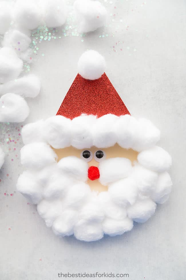 How to make a Santa out of cotton balls