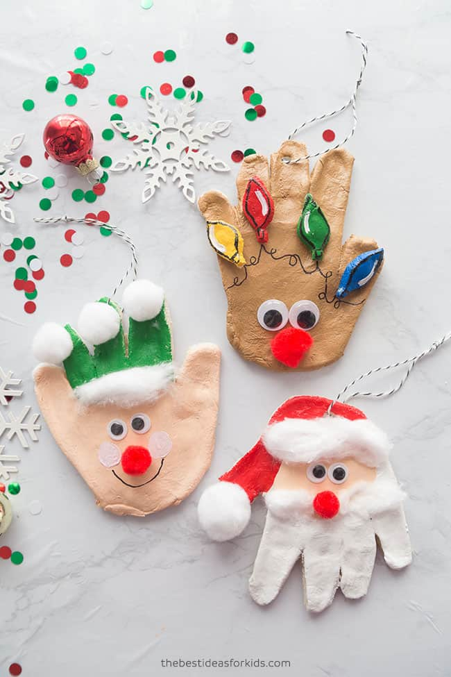 Santa Handprint Ornament Craft For Toddler
