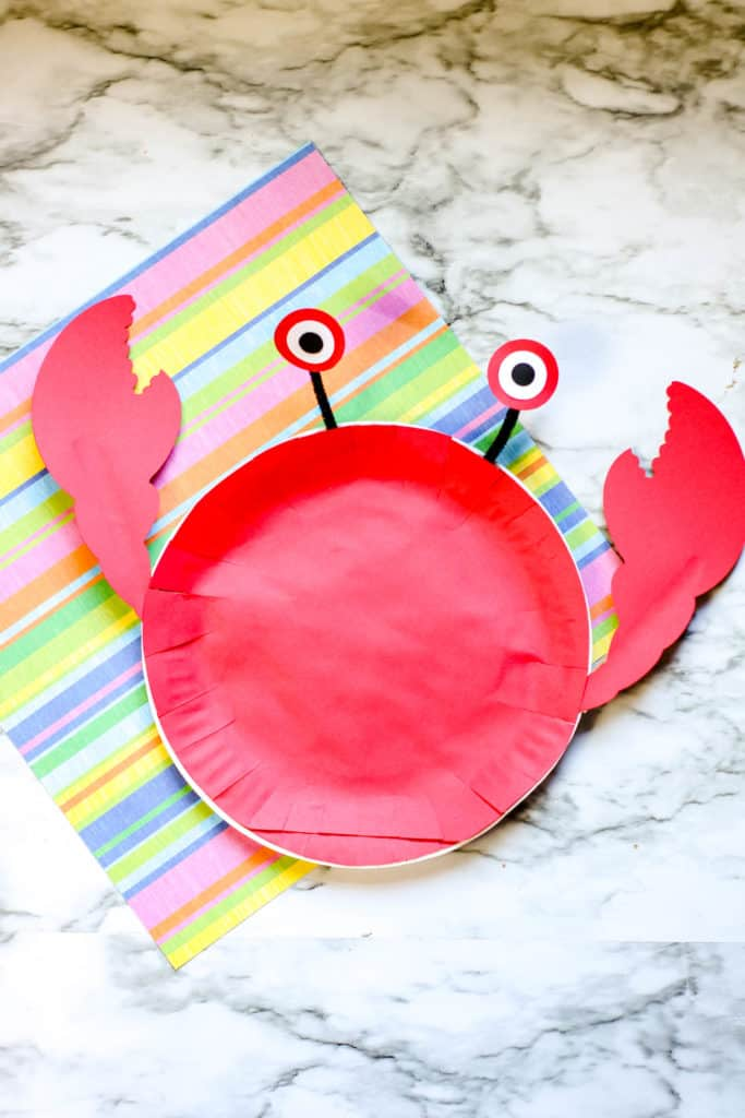 Red Crab Craft make out of a paper plate