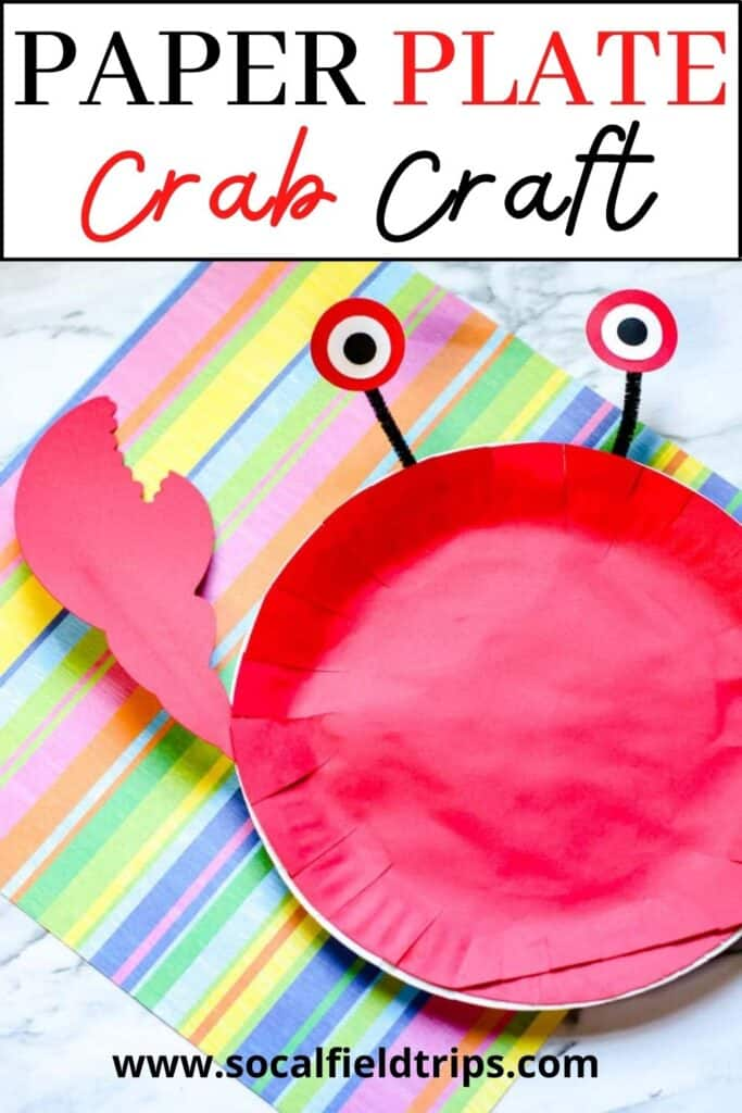 This paper plate crab craft is great for kids, toddlers, and even preschoolers. It's the perfect addition to a lesson about ocean animals, or a fun way to have some ocean fun when you can't go to the beach!