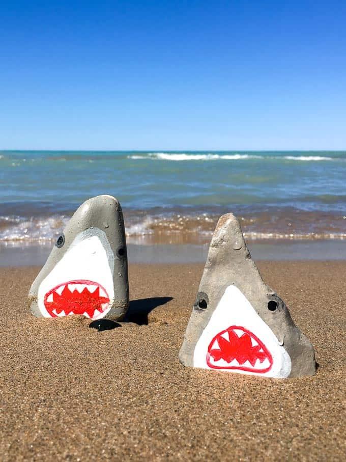 easy shark painted rocks