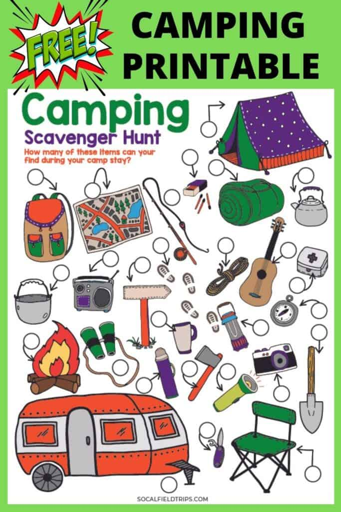 Before you head out camping, grab this free Camping Scavenger Hunt Kids printable!  It was designed with all ages in mind.  Camping rules for the older kids to read and sound out loud and a picture scavenger hunt of items for kids to have fun doing while going camping with family and friends.