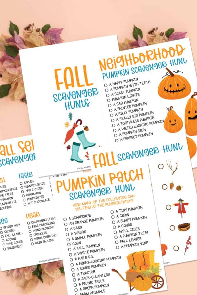 With the changing of the seasons, come opportunities to explore outside and take nature walks with your kids. And we have the most complete free fall scavenger hunt printables for the season!